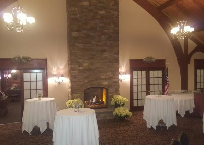 banquet room set up for holiday party
