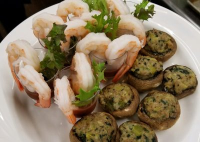 shrimp cocktail with stuffed mushrooms